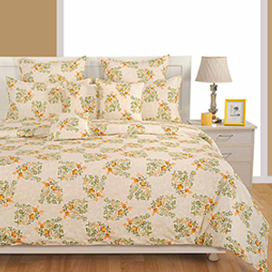 View Swayam Off White and Yellow Colour Floral Bed Sheet with Pillow Covers