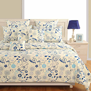 Bedsheets-Swayam Blue Colour Bed Sheet with Pillow Covers