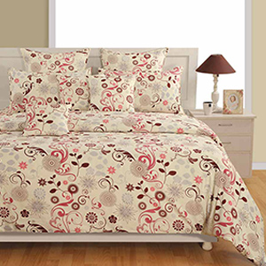 Swayam Off White and Brown Colour Floral Bed Sheet with Pillow Covers