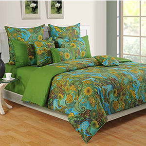 Bedsheets-Swayam Green and Blue Colour Ethnic Bed Sheet with Pillow Covers