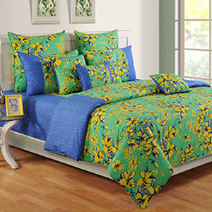 Swayam Blue and Beige Colour Floral Bed Sheet with Pillow Covers