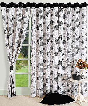 Swirl In Black Door Curtains