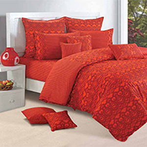 Swayam Orange and Magenta Colour Ethnic Bed Sheet with Pillow Covers
