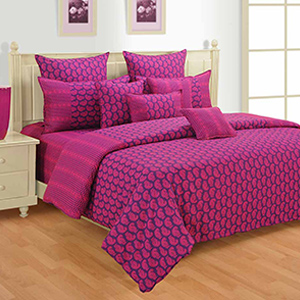 Bed sets-Swayam Pink and Magenta Colour Ethnic Bed Sheet with Pillow Covers