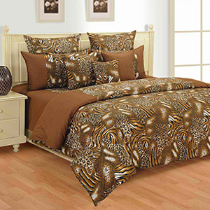 Swayam Brown and Orange Colour Tiger and Cheetah Pattern Bed Sheet with Pillow Covers