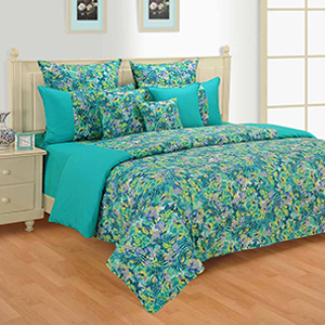 Swayam Green and Yellow Colour Floral Bed Sheet with Pillow Covers