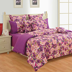 Swayam Magenta and Cream Colour Floral Bed Sheet with Pillow Covers