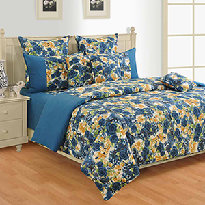 Bed sets-Swayam Purple and Orange Colour Floral Bed Sheet with Pillow Covers