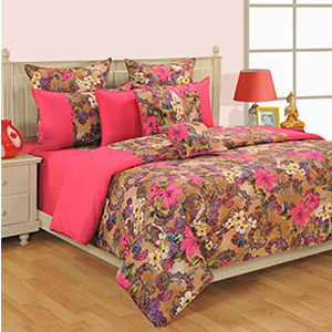 Bedsheets-Swayam Pink and Cream Colour Floral Bed Sheet with Pillow Covers