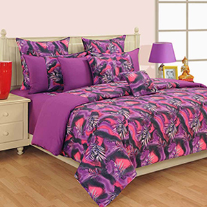 Bed sets-Swayam Magenta and Green Colour Leaf Pattern Bed Sheet with Pillow Covers
