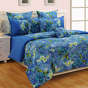 Bed sets-Swayam Blue and Yellow Colour Floral Bed Sheet with Pillow Covers