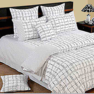 View Swayam White and Black Colour Check Pattern Bed Sheet with Pillow Covers