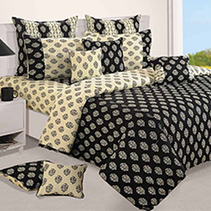 Bedsheets-Swayam Black and Off White Colour Ethnic Bed Sheet with Pillow Covers