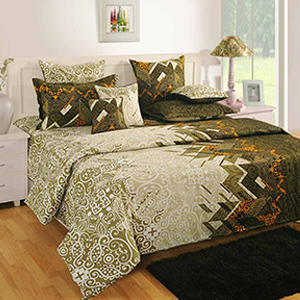 Swayam Cream and Brown Colour Ethinic Bed Sheet with Pillow Covers