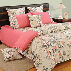 Swayam Pink and Peach Colour Floral Bed Sheet with Pillow Covers