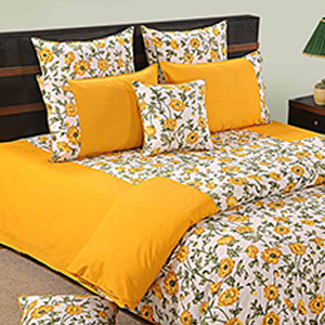 Swayam Yellow and White Colour Floral Bed Sheet with Pillow Covers