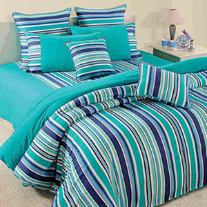 Swayam Turquoise and Blue Colour Stripes Bed Sheet with Pillow Covers