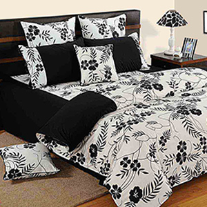Swayam Black and White Colour Floral Bed Sheet with Pillow Covers