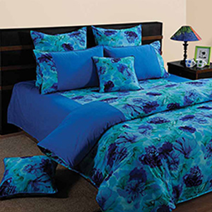 Swayam Blue and Navy Blue Colour Floral Bed Sheet with Pillow Covers