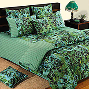 Swayam Green and Sea Green Colour Floral Bed Sheet with Pillow Covers