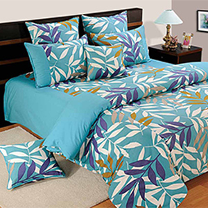 Bedsheets-Swayam Turquoise and Blue Colour Leaf Pattern Bed Sheet with Pillow Covers
