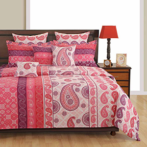 Swayam Pink and Red Colour Ethnic Bed Sheet with Pillow Covers