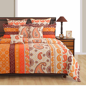 Swayam Orange and Brown Colour Ethnic Bed Sheet with Pillow Covers
