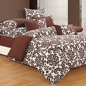 Swayam Brown and Off White Colour Floral Bed Sheet with Pillow Covers
