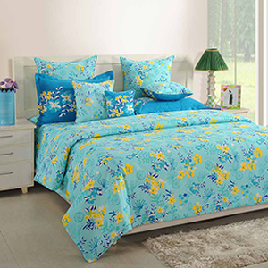 Bed sets-Swayam Turquoise Colour Bed Sheet with Pillow Covers
