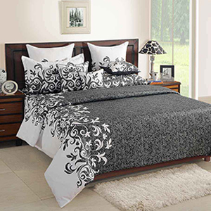 Swayam Grey Colour Bed Sheet with Pillow Covers