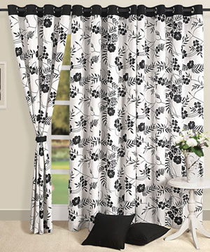Black and White Floral Window Curtain