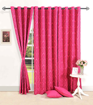 Deep Pink Delight Door Curtain