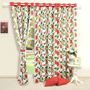 Red Passion Flower Window Curtains