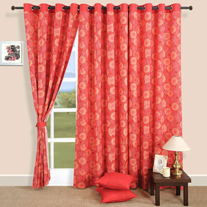 Swirls in Red Window Curtains