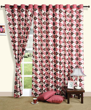 Scottish Pink Window Curtains