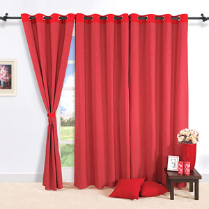 Just Red Window Curtains