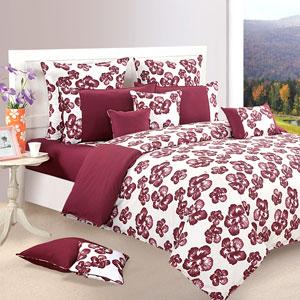 Deep Maroon Hibiscus Comforter and Double Bedsheet Set