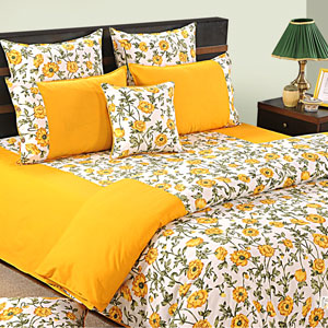 Yellow Abundance Comforter and Double Bedsheet Set