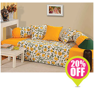 Warmth of yellow diwan set india for Diwan for sitting