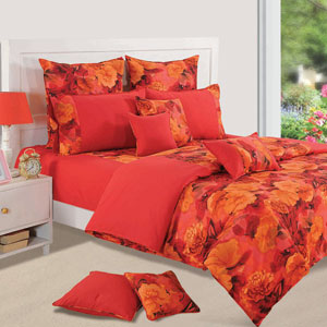Crimson Delight Double Bedsheet & Comforter Set