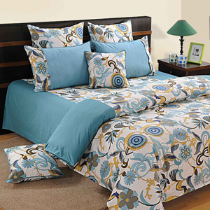Blue Splash Double Bedsheet & Comforter Set