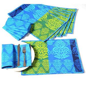 Floral Blue Table Mat Set