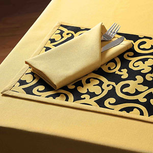 Reversible Black & Gold Table Mat Set