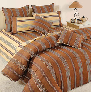 Bed sets-Fawn and Brown Linea Comforter and Bedsheet Set