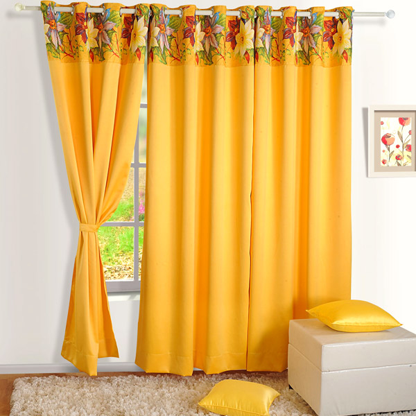 Yellow Flower Blackout Window Curtain