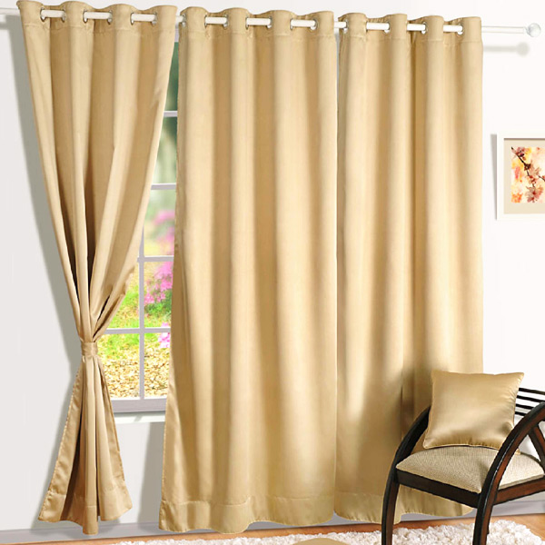 Plain Latte Beige Blackout Window Curtain