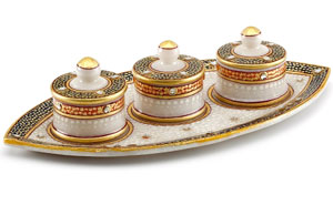Gold Embossed Boat Tray with Utility Containers