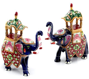 Hand-Painted Enameled Metal Ambabari Elephant Pair