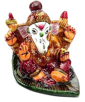 Metal Idols-Hand-Painted Enameled Metal Ganapati