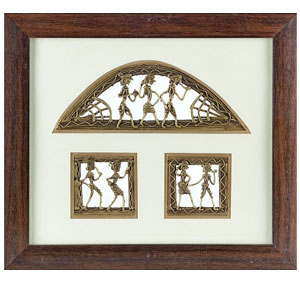 Handcrafted Tribal Metal Craft with Rosewood Frame
